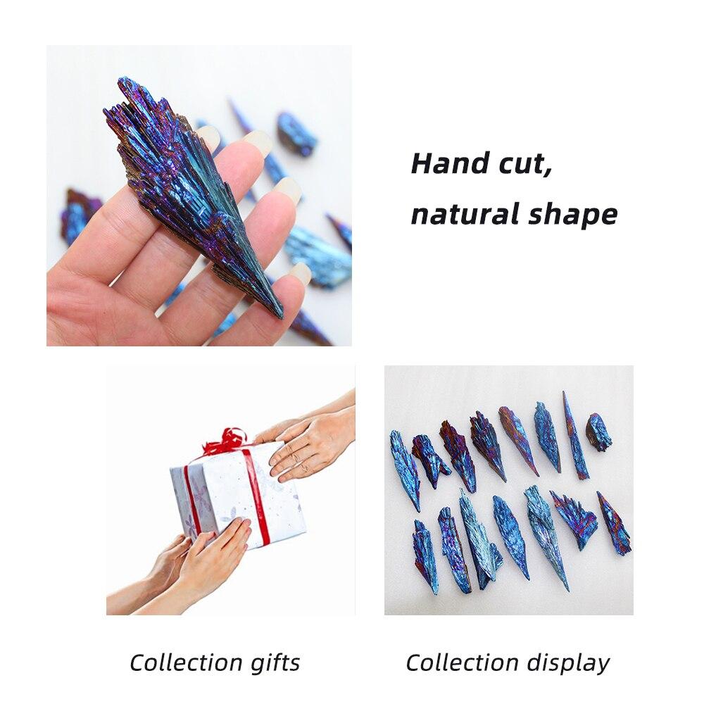 Cristal de cuarzo Natural bonito Jet Stone para decoración del hogar titanio Arco Iris Cluster Mineral espécimen curativo