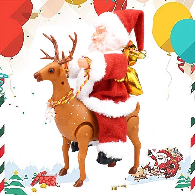 Juguetes de Santa Claus eléctricos de alta potencia para montar renos de juguete decoración de escritorio adornos para Navidad hogar UEJ
