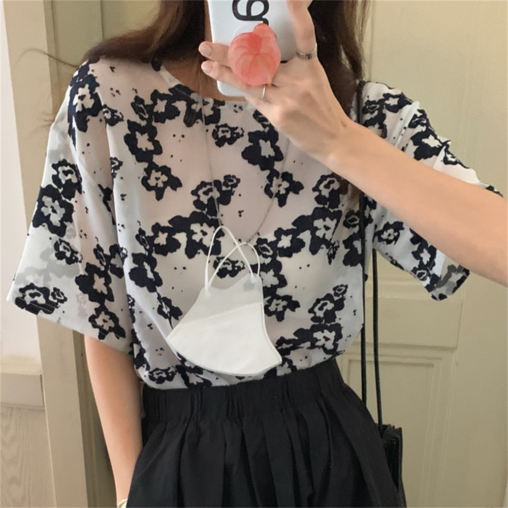 Alien Kitty Casual Hot Light Florals All Match Retro Printed Mesh 2021 OL Fashion Femme Loos Blouses Summer Prom Shirts Tops