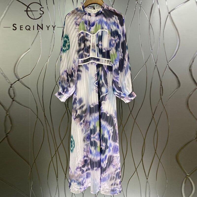 SEQINYY ميدي فستان أنيق ربيع الخريف موضة جديدة تصميم المرأة فانوس كم مطوي الحبر المطبوعة خمر فضفاض