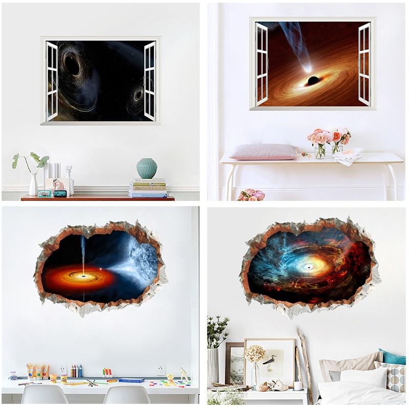 3d universo agujero negro nebulosa roto pegatinas de pared decoración del hogar sala de estar 45*60cm Pared de paisaje calcomanías arte mural diy afiches de pvc