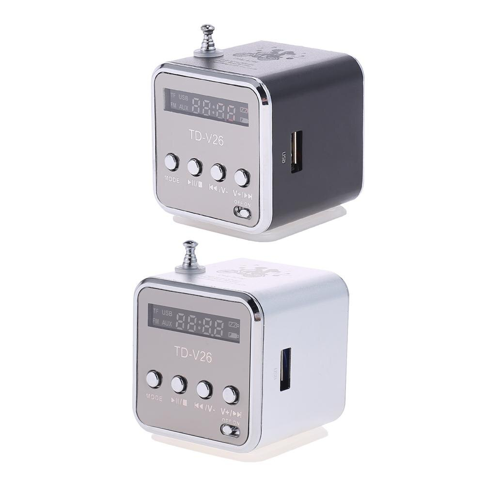 TD-V26 de aluminio digital, receptor de Radio FM, SD, TF, USB, Mini...
