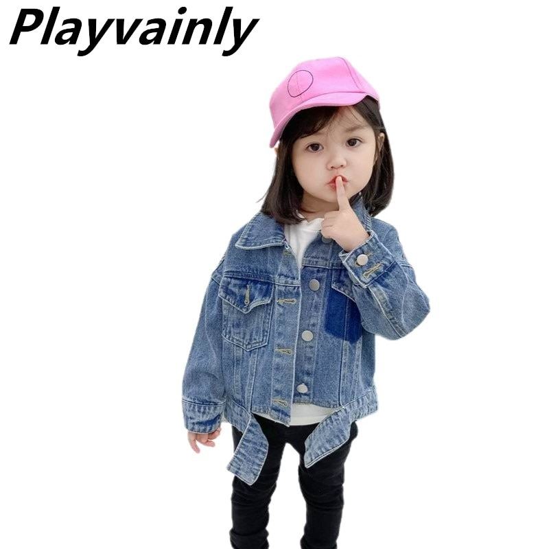 Wholesale 2020 Autumn Girls Jackets Baby Boy Coats Blue Denim Casual Kids Jackets for Girls Kids Clothes E52032