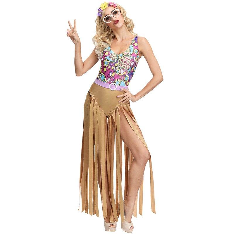 Halloween adulto para mujer Cosplay disfraz vestido Disco Zip Material superior artículo tipo fuente personajes de dedos Fancy Fringed porn