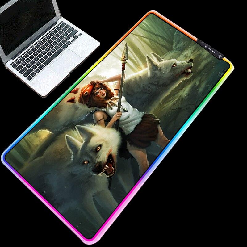 Mairuige rgb mouse pad luz fria led mudança de cor de carregamento usb fondo de pantalla la princesa mononoke anime tapete de mesa do computador
