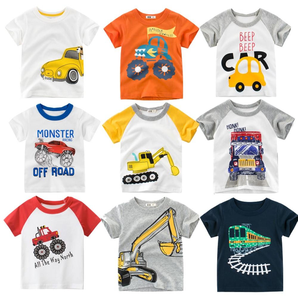 Kids t shirt for boys tops summer Cartoon Car Print T Shirt Infant Kids Girls T-Shirts teenager clothes Cotton Toddler Tops 2-8Y