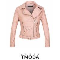 Куртка женская демисезонная из искусственной кожи на молнии с поясом