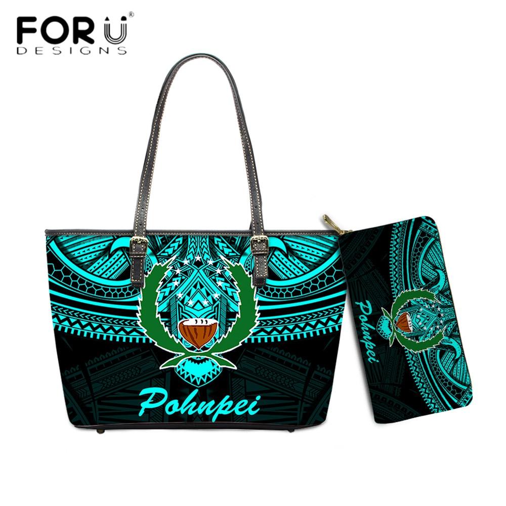 FORUDESIGNS حار مبيعات فاخرة المرأة الكتف و محفظة مجموعة Pohnpei بولينيزيا Samoan القبلية مطبوعة أنثى بولي Leather حقيبة يد جلدية كيس