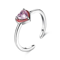 zemior open ring for women 100 925 sterling silver pink heart shape cubic zirconia simple engagement wedding bands fine jewelry