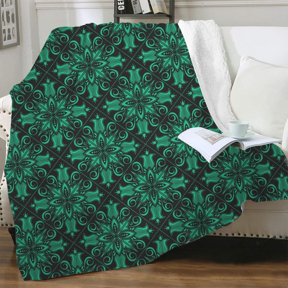 NKNK زهور بطانية خضراء رقيقة لحاف الهندسة ثلاثية الأبعاد طباعة Harajuku المفرش للسرير Sherpa بطانية جديدة عالية الجودة مستطيل