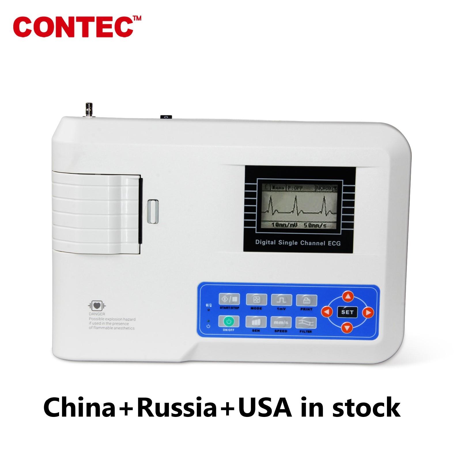 قناة واحدة ماكينة عمل مخطط كهربية القلب CONTEC ECG100G 12 الرصاص EKG تخطيط القلب ، الطابعة ، CE
