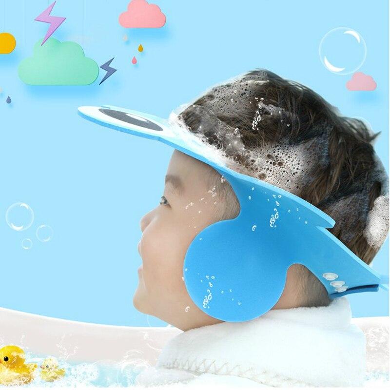 Gorro de ducha para bebé, gorro de champú, gorro de baño de bebé para niños, visera ajustable, protector impermeable, protección para ojos, gorra para bebé