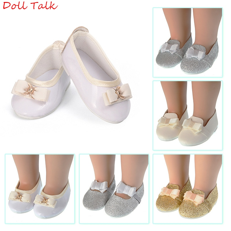 AliExpress - New Bow-knot Doll Shoes 43cm MIni Cute Pu Leather Shoes Fit 18inch American Baby Doll Fit New Born Doll 1/3 BJD Toy Accessories