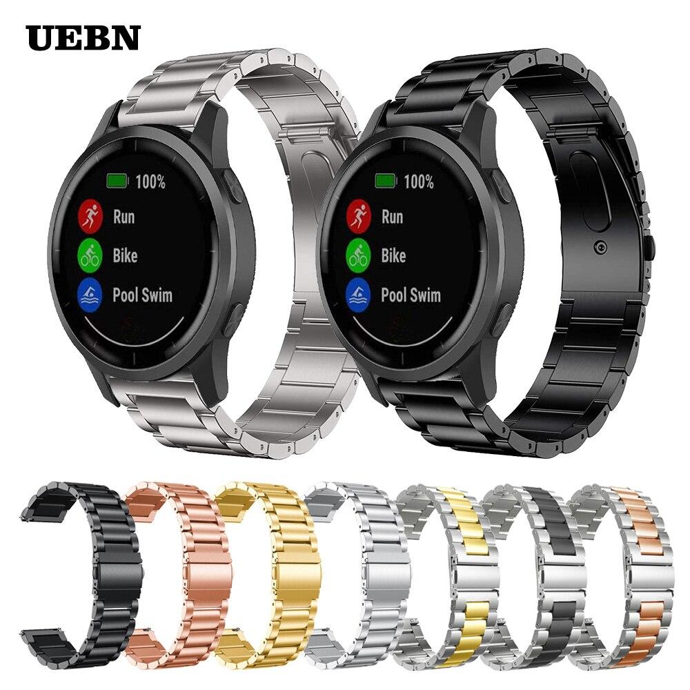 Bracelet en acier inoxydable en métal UEBN pour Bracelet Garmin vivoactive 4 pour Bracelet Garmin actif Venu Sq vivoactive 3 bracelets de montre