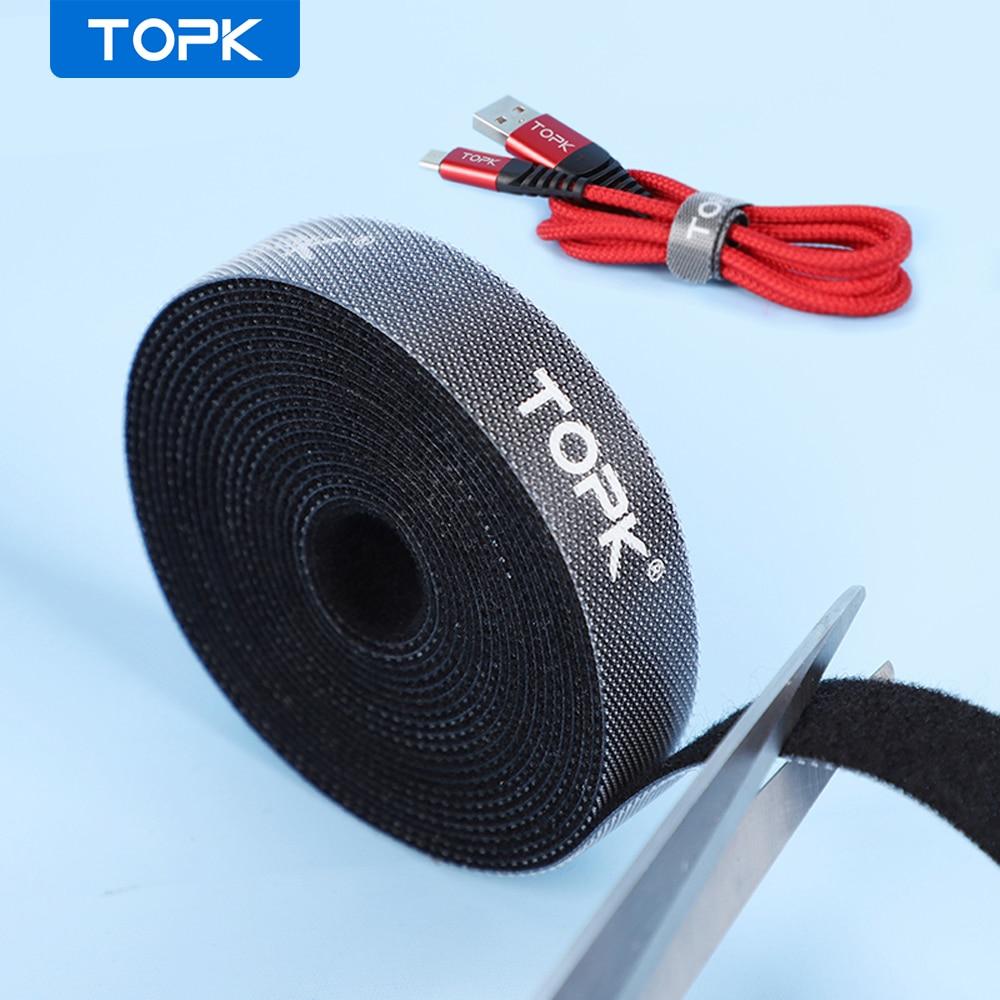 Topk cabo protetor de náilon magia adesivo cabo organizador fio dobadoura fone de ouvido mouse cabo gestão para iphone samsung xiaomi