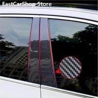 car carbon fiber door window center b c pillar column trim decorative pc stickers for volkswagen vw polo plus 2019 2020 2021