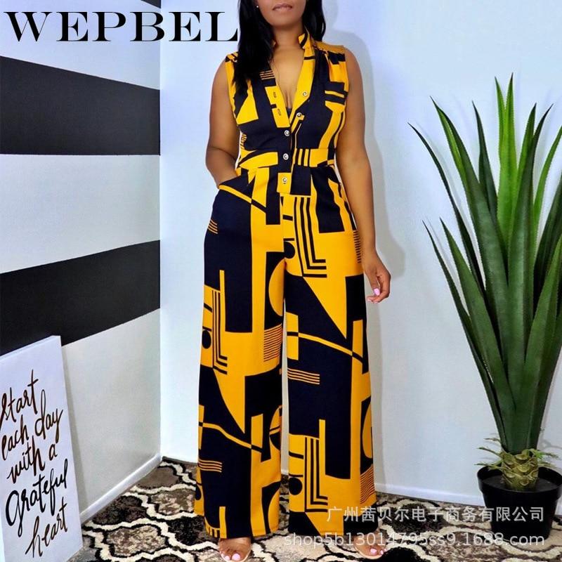 WEPBEL النساء أنيقة المرقعة فضفاض Playsuit السيدات بذلة عادية أكمام الخامس الرقبة طباعة رومبير بنطال ذو قصة أرجل واسعة وزرة