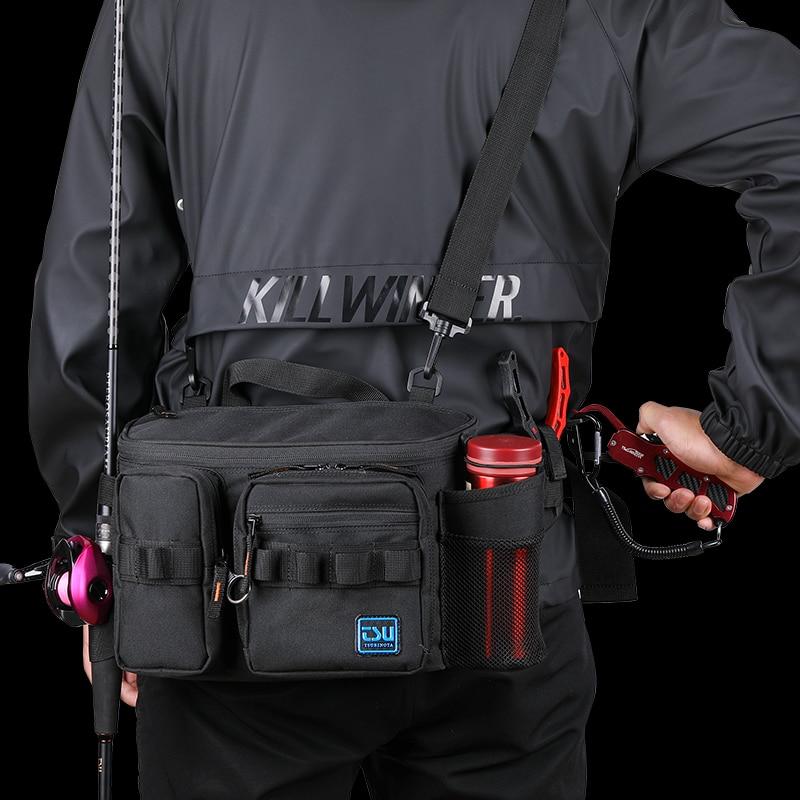 TSURINOYA Multi-función de Pesca bolsa 30x13x21cm de Nylon impermeable bolso de la cintura bolsa de hombro Grande mochila Pesca aparejos de Pesca