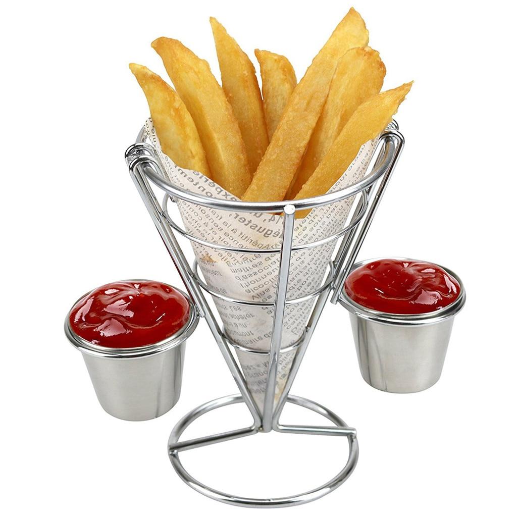 Batatas fritas suporte buffet cone lanche rack de exibição frango frito rack de exibição batatas fritas cesta buffet cone snack rack #25