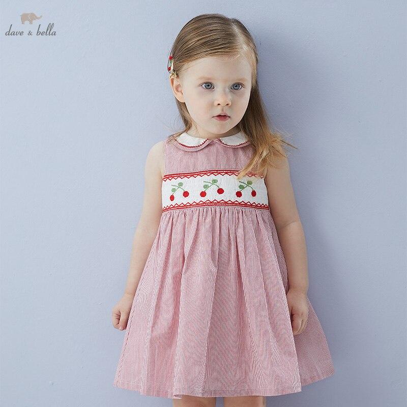 DB16842 ديف بيلا الصيف طفلة لطيف الكرتون مخطط فستان أطفال موضة فستان الحفلات الاطفال الرضع لوليتا الملابس