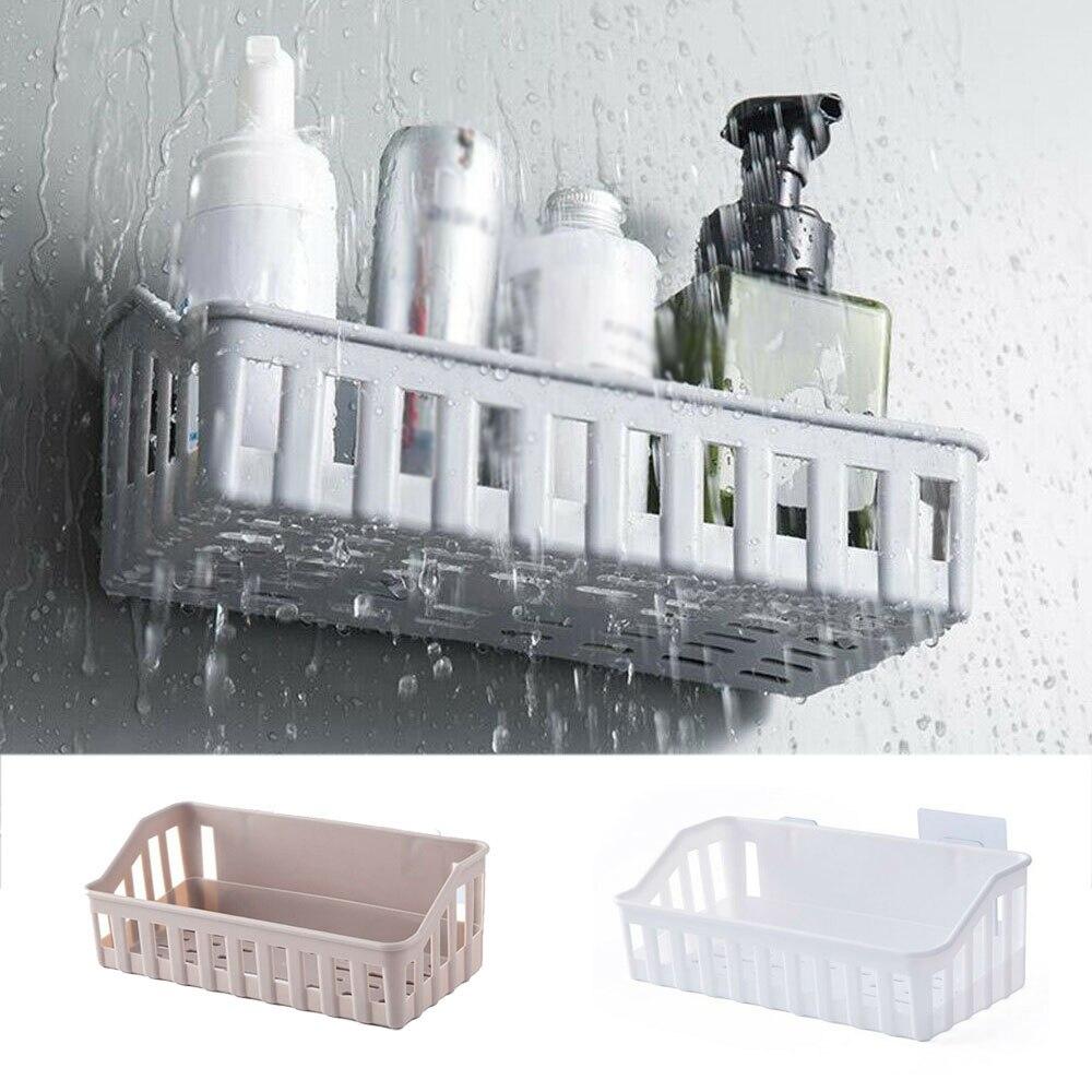 1pc novo durável cesta de cozinha acessórios do banheiro prateleira de armazenamento adesivo rack canto titular chuveiro shampoo organizador