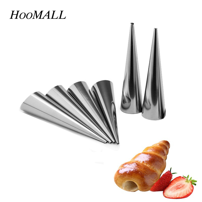1 pc diy ferramenta de cozimento cannoli formas croissant molde aço inoxidável desset pão cozimento & pastelaria moldes acessórios cozinha