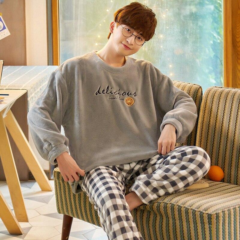 Winter Pajamas for Men Plus Size 3XL Pajamas Flannel Winter Velvet Home Suits