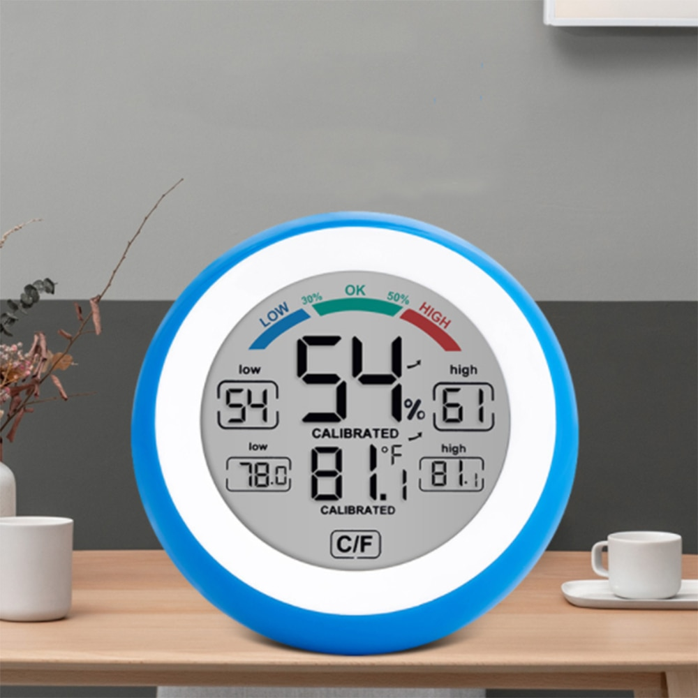 Digital LCD Display Indoor Thermometer Hygrometer Round Wireless Electronic Temperature Humidity Meter Household Accessories pet thermometer hygrometer round digital lcd display temperature humidity monitor