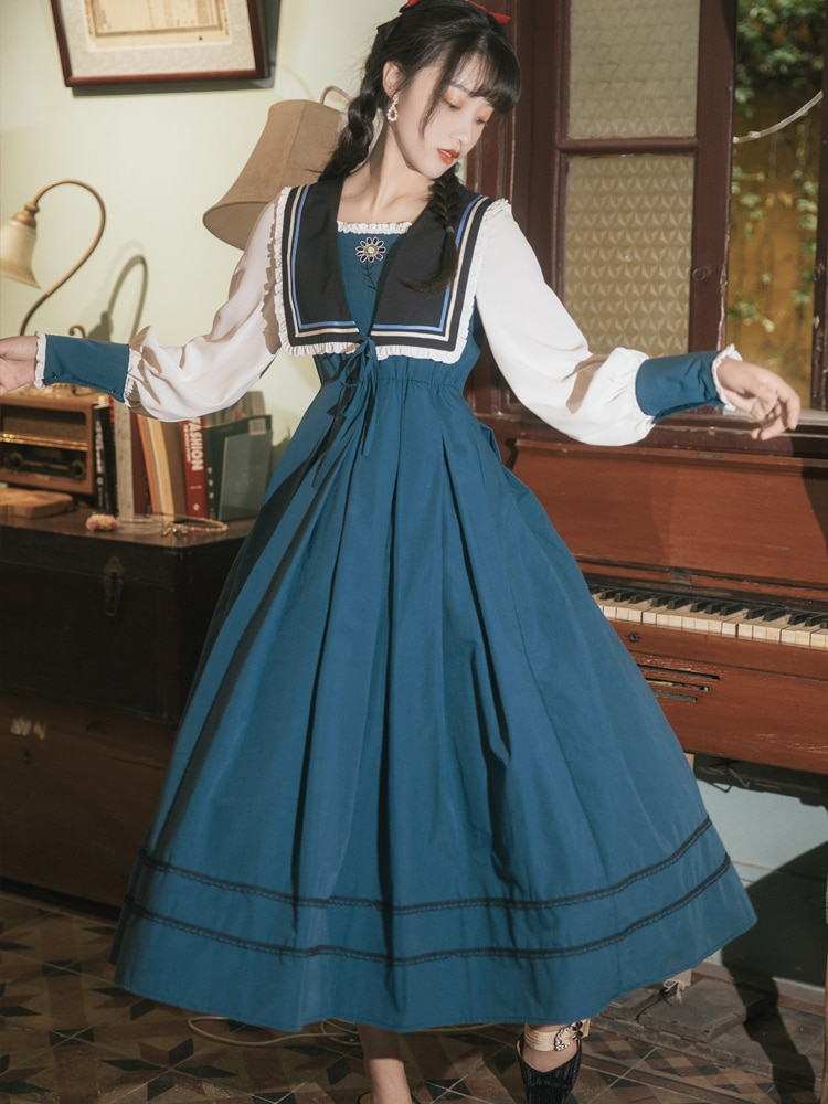 Vintage Princess Maxi Dresses for Women High Waist Square Collar Navy Blue Elegant Evening Party Dress Female Vestidos De Mujer