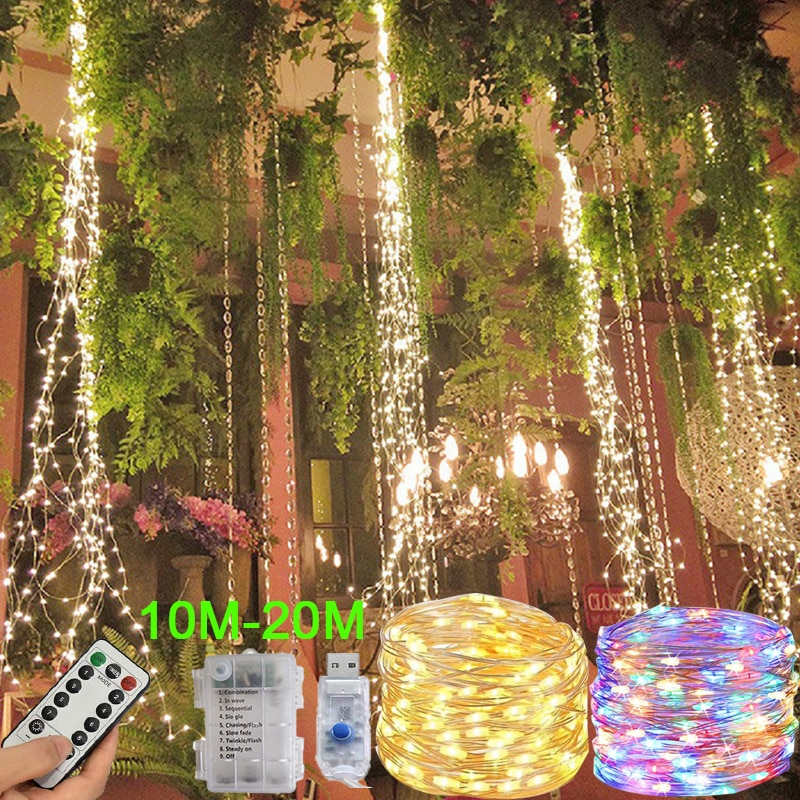holiday lighting 5m 50led string light copper silver wire battery fairy christmas garland wedding party decoration outdoor LED Copper wire light 5M/10M string fairy garland battery power copper wire lamp for party Christmas wedding decoration