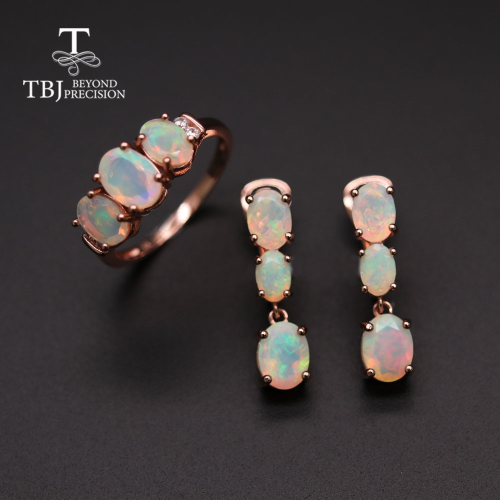 Review TBJ Natural Opal ring earrings jewelry set temperament fashionable women anniversary party wear high jewelry