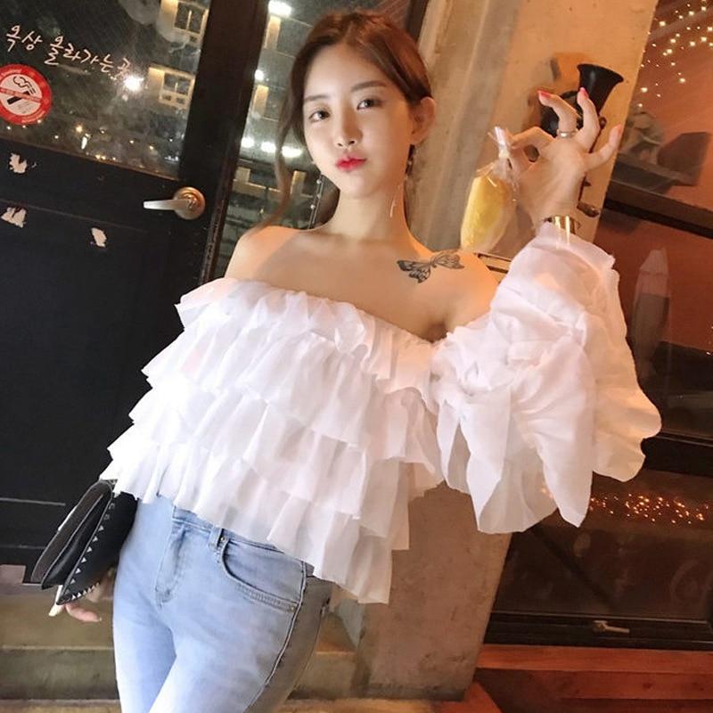2020 Summer and Korean Summer New Retro Off Shoulder Sweet Cake Trumpet Sleeve Chiffon Shirt Off Shoulder Long Sleeve Top Blouse
