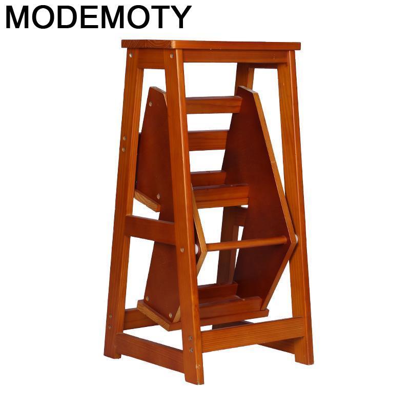 Taburete escalonado Plegable de madera para ancianos, escalón de Cocina para el...