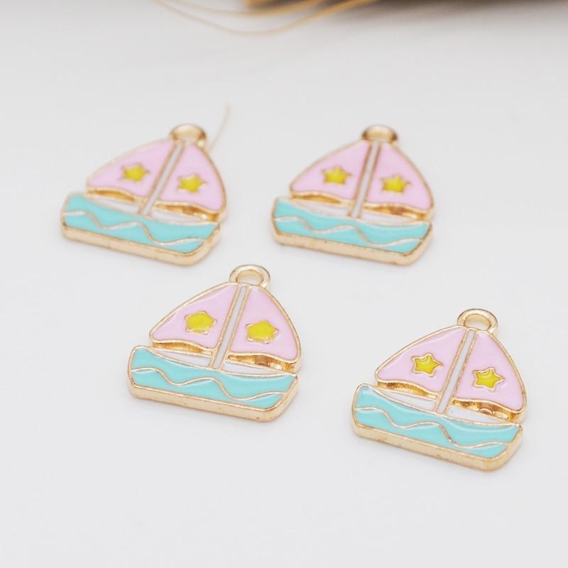 20 unids/lote de abalorios rosas para barco, abalorios de 16x18,5mm para hacer colgantes esmaltados, joyería hecha a mano DIY