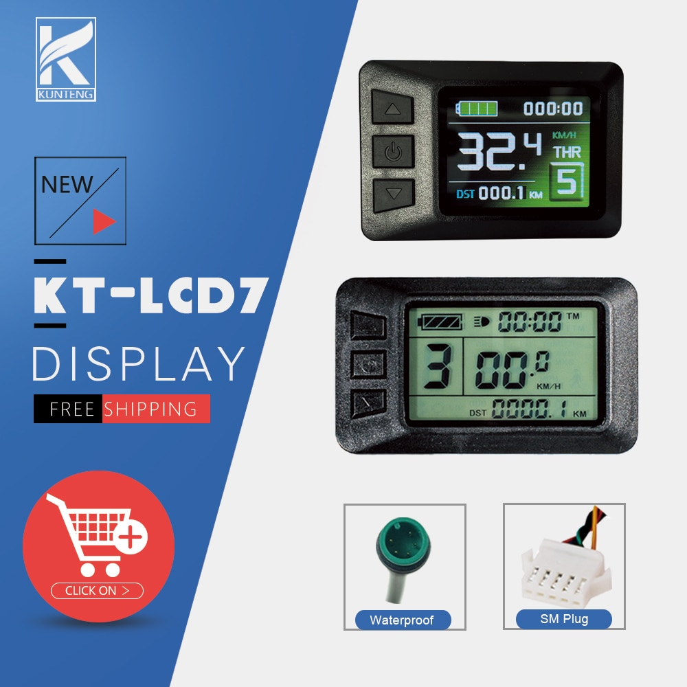 Ebike Display LCD7C/LCD7U SM/Waterproof Plug Electric Bicycle Accessories LCD Display with USB Function For KT Controller
