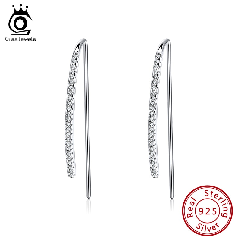 ORSA JEWELS pendientes de aro de plata para mujer AAAA circonita cúbica pendientes redondos de Plata de Ley 925 joyería Aretes OSE224