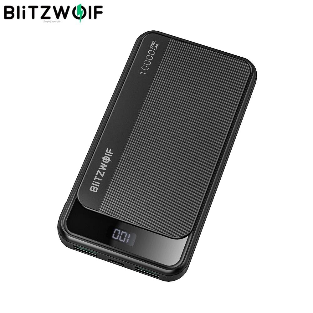 BlitzWolf, 10000mAh, 22,5 W, pantalla Digital, QC3.0 PD3.0, SCP, doble salida, Banco de energía inteligente de entrada para iPhone para Samsung para Huawei