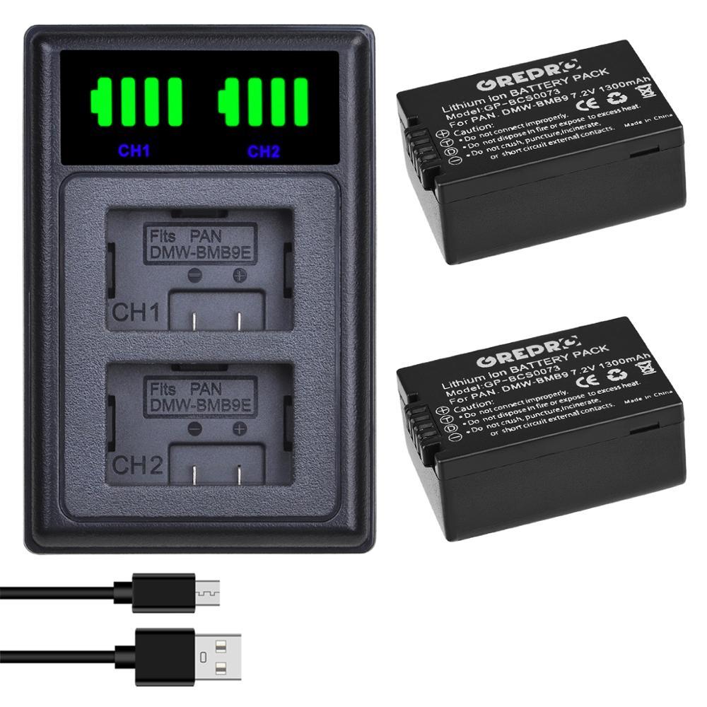 2 uds DMW-BMB9 DMW-BMB9E DMW BMB9 batería + LED Dual cargador con puerto de tipo-C para Panasonic Lumix DMC FZ40K FZ45K FZ47K FZ48K FZ60