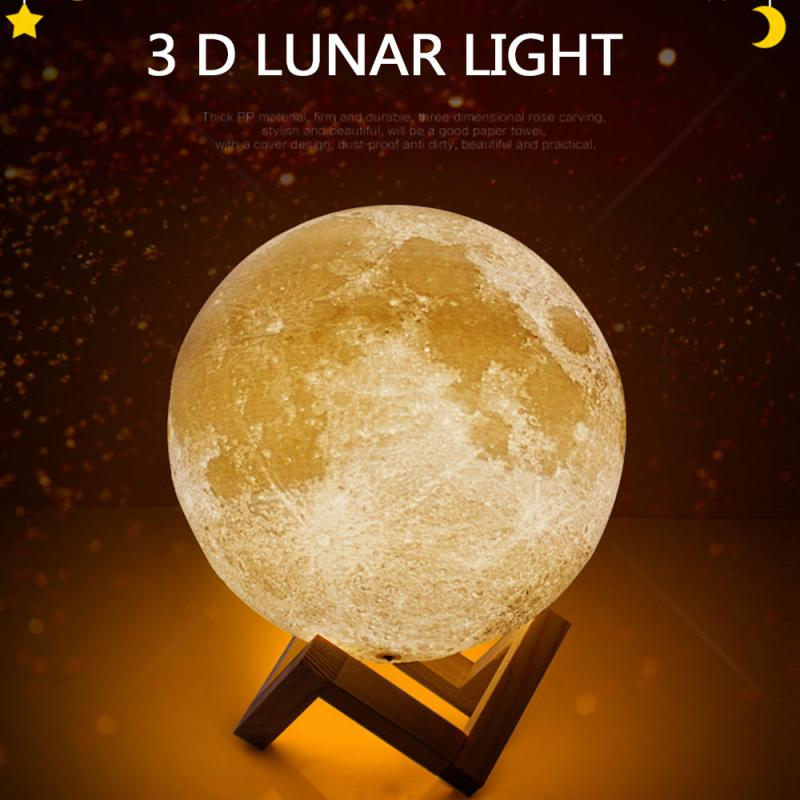 Creative 3D Printed Ivory White Moon Light Touch Two-color Safe And Practical LED Night Light Bedroom Gift Decorative Table Lamp