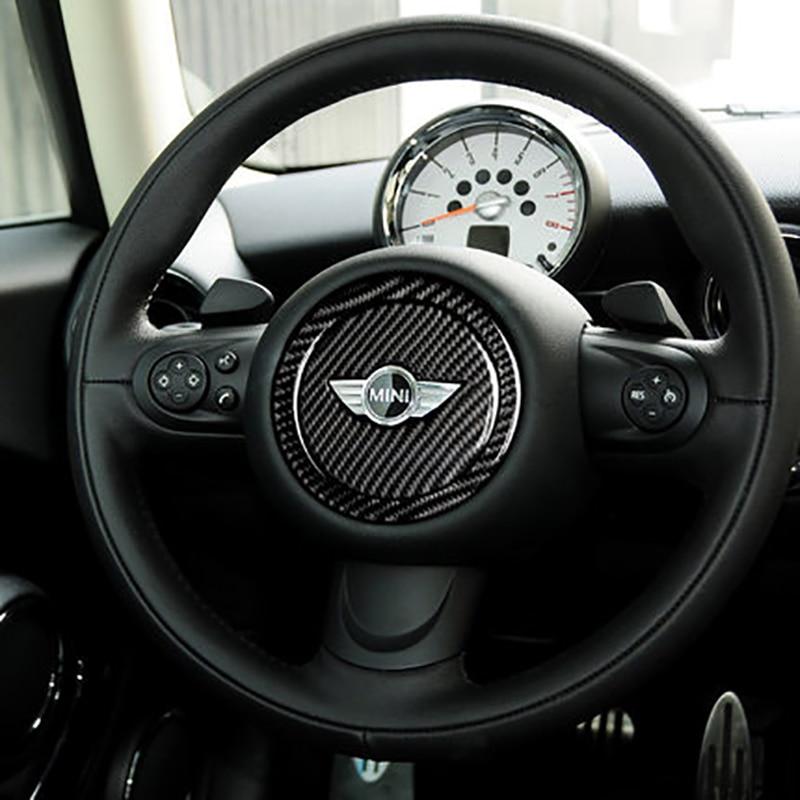 Автомобильный Центр рулевого колеса, защитная декоративная наклейка в стиле углерода, автомобильные аксессуары для Mini Cooper R55 R56 R60 R61 F55 F56 F60