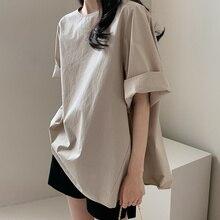 Women Plain Loose Blouse Summer Thin Plain Casual Korea Style Women's Fashion Medium-Long 3/4 Sleeve