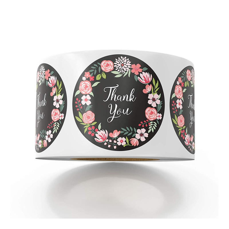 Thank You Stickers Floral Stickers for Company Giveaway Party Favors Labels Mailing Supplies Funcy Flower Print 50-500pcs