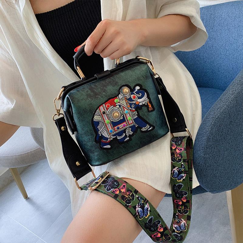 Designer Luxury Brand Handbags Crossbody Bags Elephant Embroidered Bags for Women Leather Handbag Messenger Bag Purses Satchels