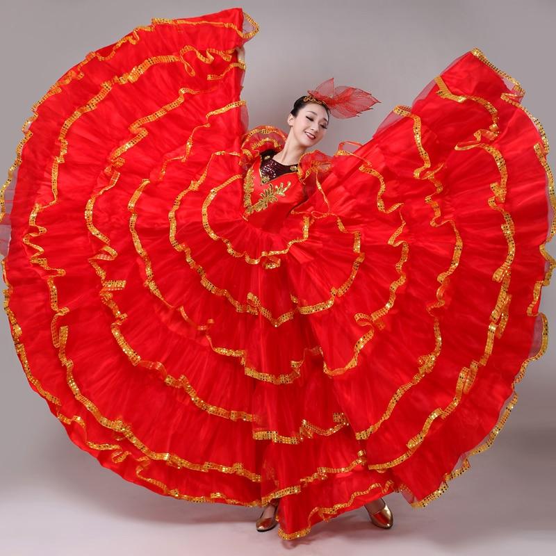 فساتين رقص قاعة الرقص النسائية ، زي إسباني أحمر ، ملابس أداء الفلامنكو ، فستان نسائي ، زي غجري للبلمرز ، DN5352