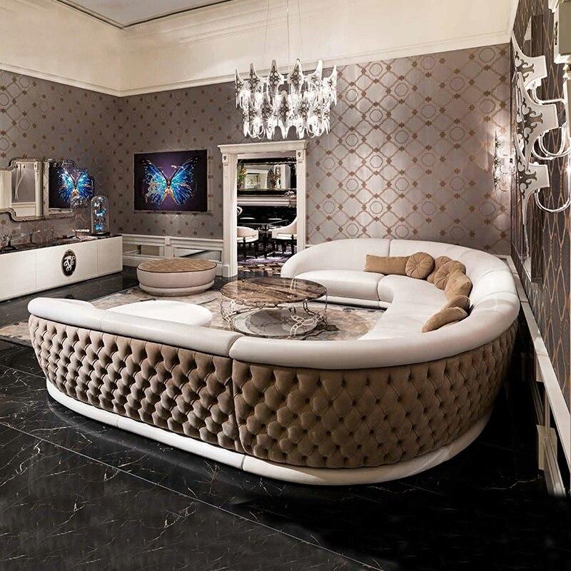 Itália design enclosure sofá em forma de u para grandes espaços/estofos de couro falso