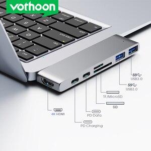 Vothoon USB C HUB to Multi USB3.0 HDMI USB HUB for MacBook Pro Air USB Splitter 7 Ports Thunderbolt 3 HUB Dual USB Type C HUB