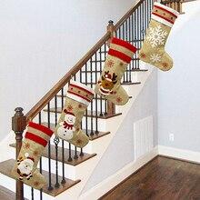 Christmas Decorations Christmas Socks Gift Bag Linen Christmas Socks Merry Christmas Supplies Xmas H