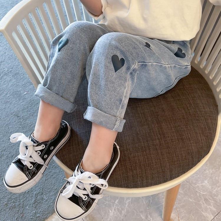 Kids Boys Girls Printed Jeans 2021 New Autumn Winter Heart Pattern Denim Pants Children Casual Blue Trousers Korean Style 18M-6Y