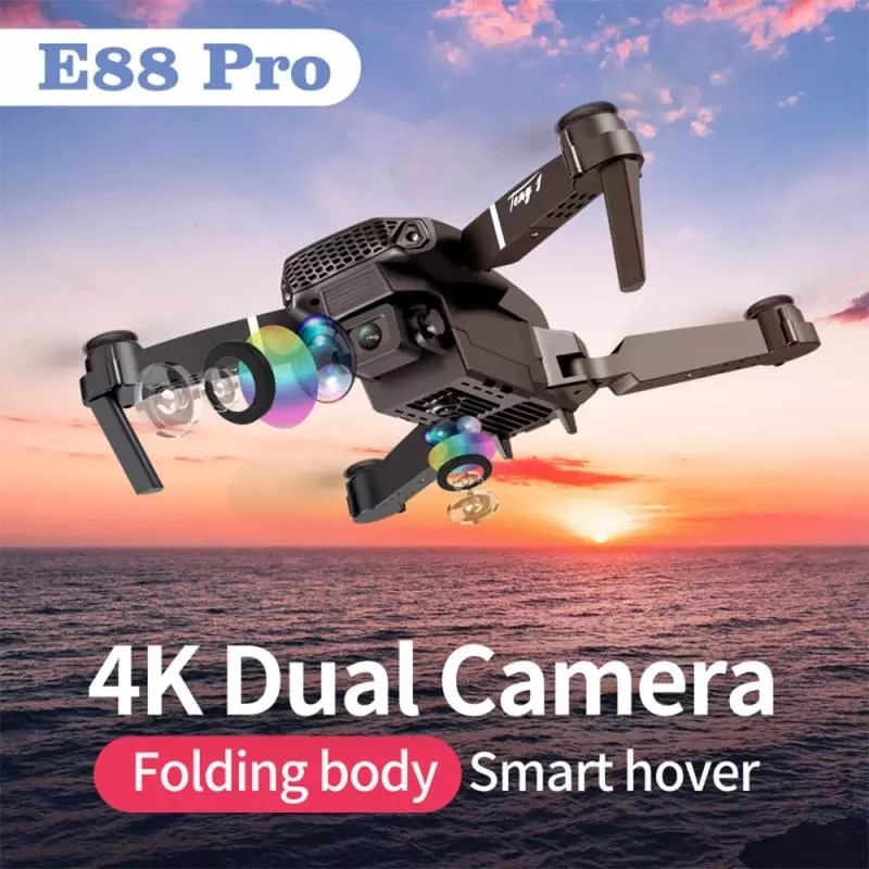2021New E88Pro Drone 4k Profesional Gps Hd 4k Rc Airplane Dual-Camera Wide-Angle Head Remote Quadcopter Airplane Toy Helicopter 2