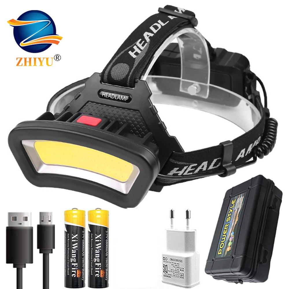 COB LED Headlight Wide Range of Lighting 1000LM USB Rechargeable LED Headlamp Wide Angle Head Light Lantern Use 2*18650 Battery